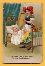 """""""Poetry in Milk"""" Double-sided color lithographic joke card around 1900"""