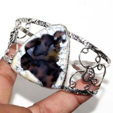 Plated Adjustable Bangle Gw Dendritic Opal 925 Sterling Silver