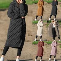 Women Winter Knitted Cardigan Long Sleeve Hooded Sweater Coat Jumper Outwear/