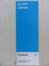 VW Golf III Cabrio Avantgarde - Preisliste MJ 1994 - Prospekt Brochure 01.1994