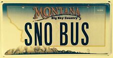 Montana vanity SNOW BUS license plate Ski Skiing Snowboard Winter Slope Downhill