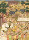 Handmade Mughal Miniature Painting Of Emperor Akbar At Ajmer Dargah For Prayer
