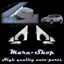 Chrome Side Rear View Mirror Bracket Cover Trim for 13+ Hyundai Santa Fe Sport