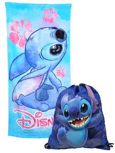 """Stitch Beach Bath Towel 58x28 w/ Disney 15"""" Cinch Drawstring Tote Sling Bag"""