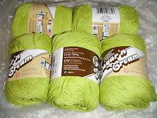 "5 Skeins, Lily, ""Sugar 'N Cream"", Hot Green, 100% Cotton Yarn"