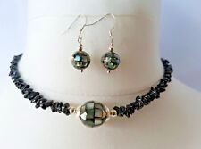 Abalone & black Spinel necklace & earring set. On 925 Sterling Silver