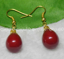 12x16mm Red South Sea Shell Pearl Yellow Gold Plated Hook Earrings JE84