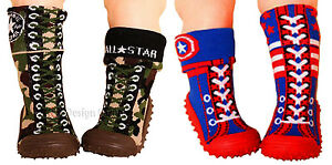 Baby Toddler Boot Socks W Soft Rubber Sole Camouflage Super Hero Size 6 Traction