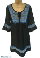Fat Face Black & Blue  Boho Hippy Smock Tunic Top Dress Tie Neck - UK 10