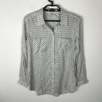 Soft Soft Joie Blouse Womens Size XS Gray White Plaid Button Front Long Sleeve