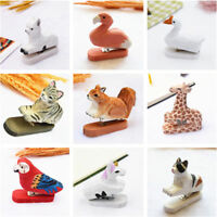 Wooden Hand Carved Office Stapler Cute Animals Painted Carved Design Desk Decor