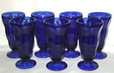 6 Anchor Hocking COBALT BLUE Sundae Parfait Soda Pedestal Glasses Dish UNUSED