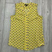 Banana Republic Womens (M) Sleeveless Blouse, V Neck, Pintuck Detail, Yellow