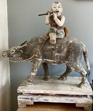 More details for huge antique chinese sculpture of boy on a water buffalo