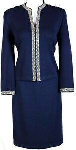 ST.JOHN Womens Suit Navy Blue With Beige Gold Sequins Trim Jacket Skirt Sz 4-6