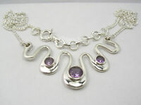 """925 Solid Silver Purple 6 x 6, 4 x 4 mm Amethyst 1.7 tcw Link Necklace 17.1"""""""