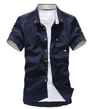 2017 Men's Summer Short Sleeve Shirts Slim Fit Dress Shirt Button Down Tops