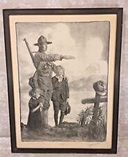 Vtg World War I Print Soldier Standing Over Grave Signed by Artist/Illustrator