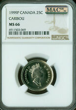 1999-P TEST CANADA 25 CENTS NGC MAC MS66 PQ SPOTLESS  *