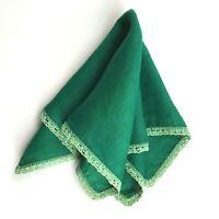Hanky Hankies Handkerchief Green Crochet Lace Linen Vintage KA37