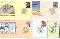 1985 FDC Australia. Classic Children's Books. Set of 5 Pictorial Postmarks