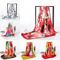 Womens Print Satin-Silk Square Scarf Wrap Shawl Beach Scarves 90*90cm Acces