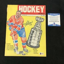 Jean Beliveau Signed Montreal Canadiens Hockey World 1968 Magazine Beckett COA