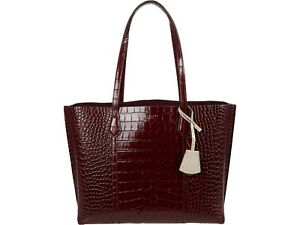 NWT IN PLASTIC Tory Burch Perry Embossed Leather Triple Compartment Tote Claret