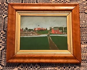 Antique Framed American Naive Oil Painting on Board New England Village