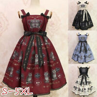 Women Lolita Sleeveless Print Bowknot Party Gown Dress Halloween Cosplay Costume