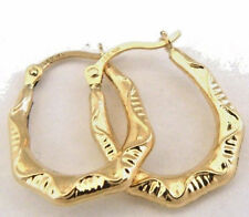 Textured Hoop Earrings 14k Yellow Gold
