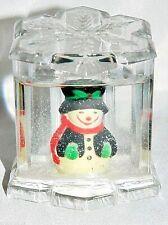 Snowman Snow Globe Snowflake Ice Cube Plastic Snowdome Vintage Snowglobe