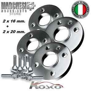 KIT 4 DISTANZIALI RUOTE 16+20 mm. FORD FIESTA IV-V-VI-VII 1995-> CON COLONNETTE
