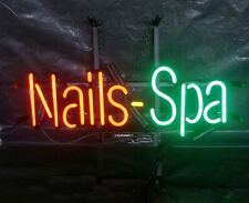 "Nails Spa Open Neon Lamp Sign 17""x8"" Bar Pub Light Glass Artwork Decor Windows"