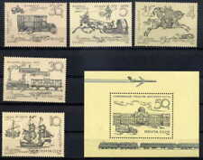 RUSSIA 1987 POSTAL SERVICE - TRAINS - HORSES MINT COMPLETE  SET AND SHEET!