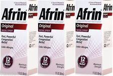 3 Bottle Afrin Nasal Spray Original Congestion Cold Allergies 12 Hour Relief 1oz