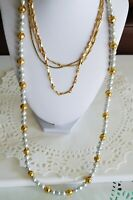 VTG LOT 4 Napier Signed Gold + Silver Tone Necklaces Jewelry Faux Pearl + Chains