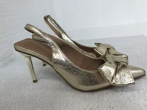 ASOS Design Slingback Shoes UK 4 Bow Design Gold Tone Stiletto Heel Shoes