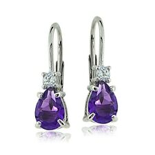 Sterling Silver African Amethyst & White Topaz Teardrop Leverback Earrings