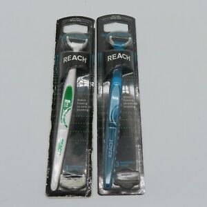 Reach Access Flosser Lot of 2 White/Green Blue Handles 1 is NEW 1 is Open Box