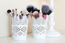Set Of 2 - Make Up Brush Holder Pot White  / Candle Holder FREE DELIVERY