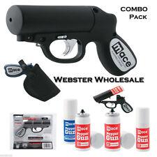 Mace 10% Pepper Gun 20ft Distance COMBO PACK Defense Spray - BLACK w/ STROBE