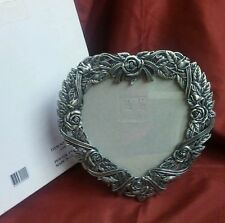 "VICTORIAN ROSES PEWTER HEART SHAPED FRAME 8"" at tallest & widest points"