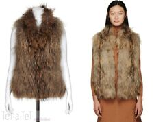 YVES SALOMON Racoon Fur Woven Knit Brown Vest 38