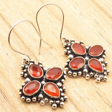 Standout Style !! 925 Silver Overlay Red CARNELIAN 4 Stone Earrings 4.1 cm