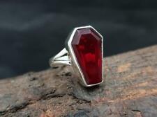 Garnet Ring, Coffin Ring, 925 Sterling Silver Ring,Handmade Ring, Size 5 xx57