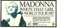 RARE / TICKET DE CONCERT + PARKING - MADONNA : LIVE A PARIS ( FRANCE ) 1987