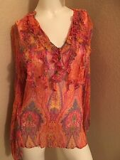 Preowned Ralph Lauren Sheer Ruffled Silk Elegant Multicolored Floral Blouse Lg