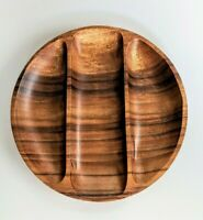 Vintage Wood Divided Platter, Serving Tray, Teak or Monkey Pod, MCM, Mid Century