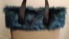 Bordo eco pelliccia pelo lungo melangiato blu compatibile O bag Classic